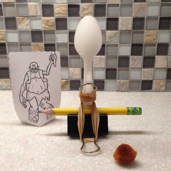 how to make an easy catapult plastic spoon